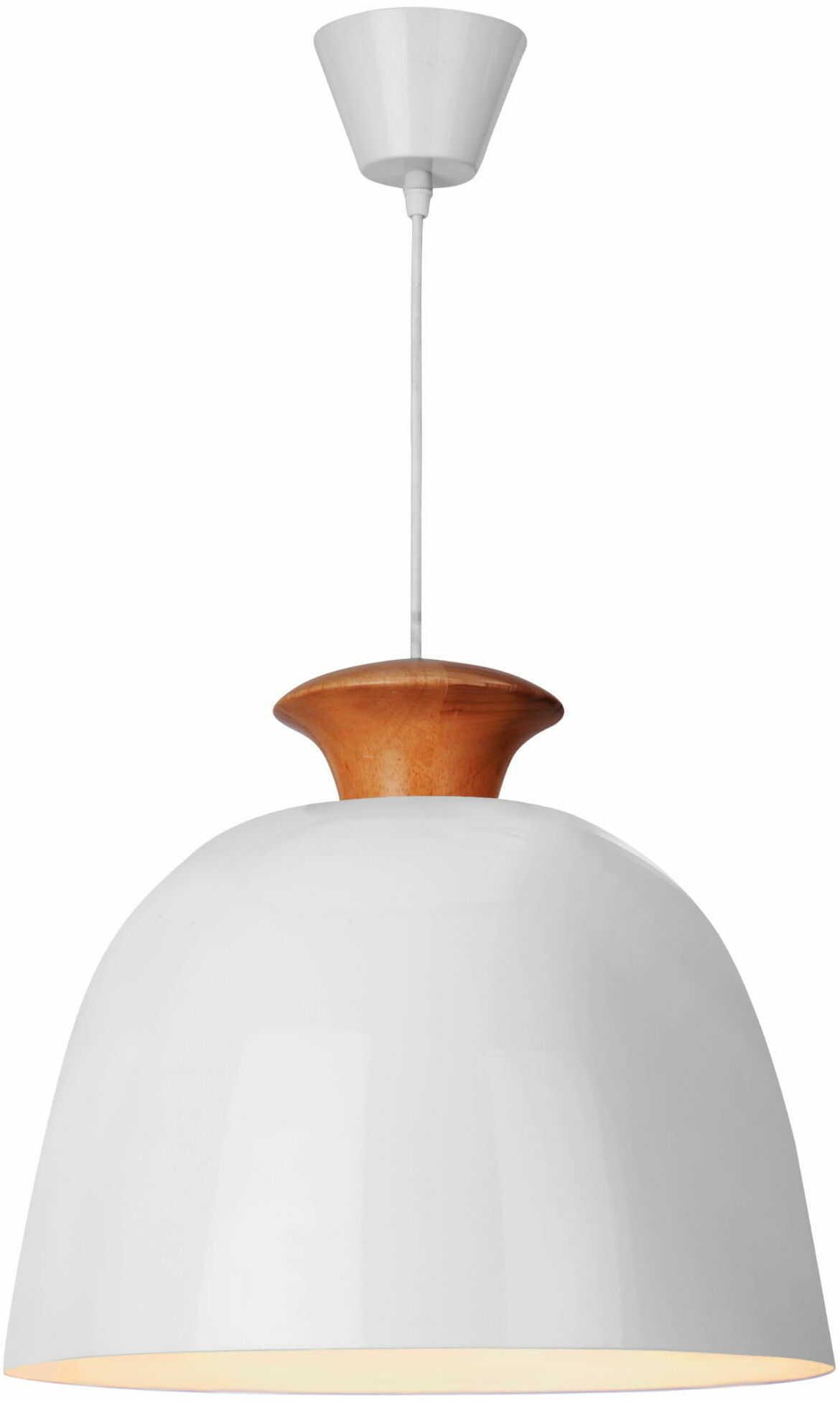 Light Prestige Aulla 1 LP-1228/1P lampa wisząca klasyczny kapeluszowy kształt klosz biały drewno 1x60W E27 40cm