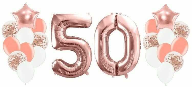 Balony na 50 urodziny różowe złoto 22 sztuki A17