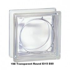 Pustak szklany 198 Transparent Round EI15 E60 19x19x8 cm luksfer