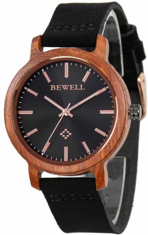 Drewniany Zegarek Bewell ZS-170AL czarny + Drewniane Pudełko