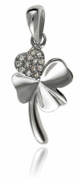 Delikatny rodowany srebrny wisiorek czterolistna koniczynka szczęścia lucky białe cyrkonie srebro 925 W0377