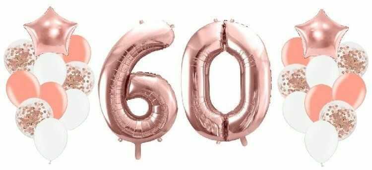 Balony na 60 urodziny różowe złoto 22 sztuki A18