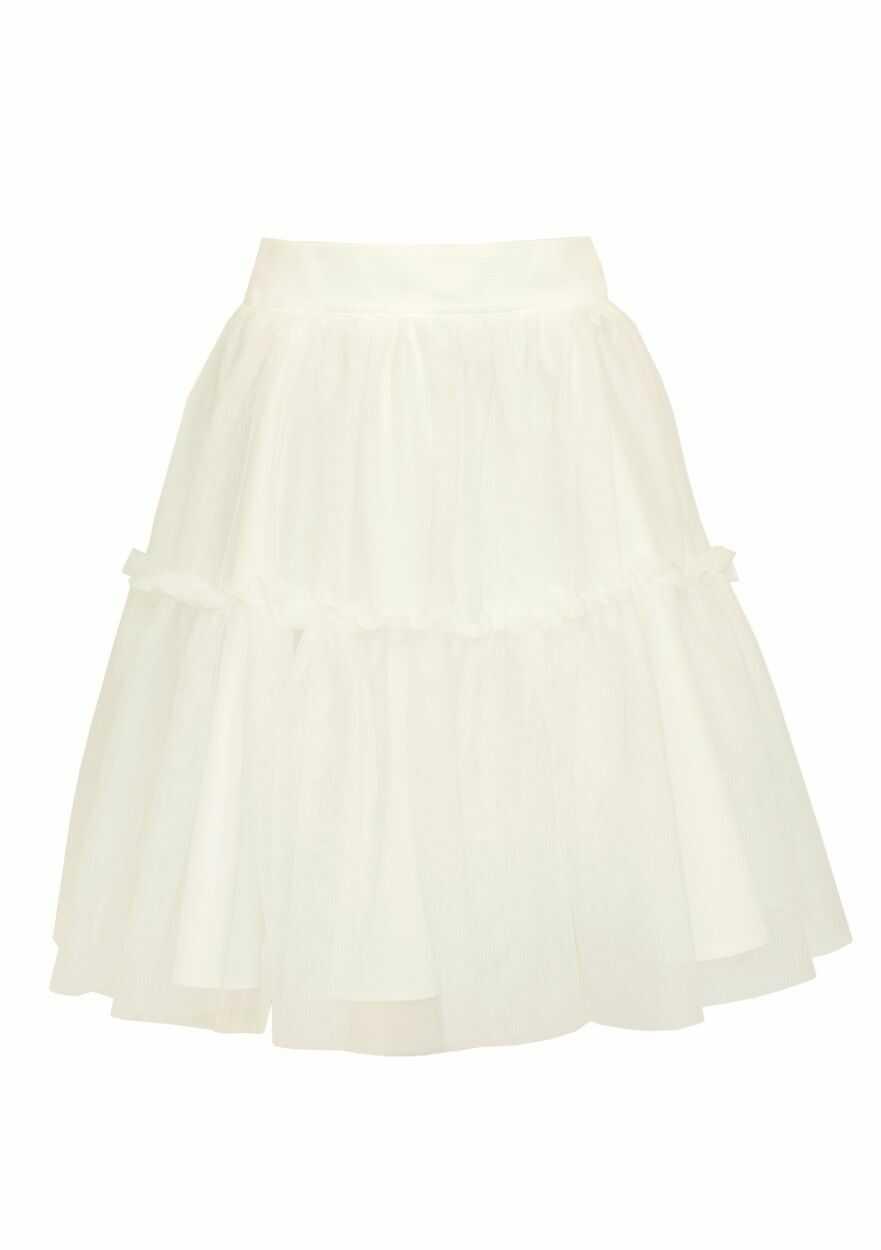 Trapezowa spódnica dla dziewczynki 128-158 39B/SM/19 ecru