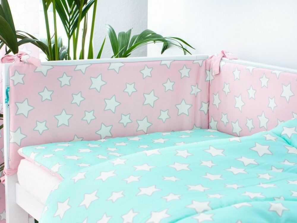 Ochraniacz do łóżeczka - Pink & Mint Stars
