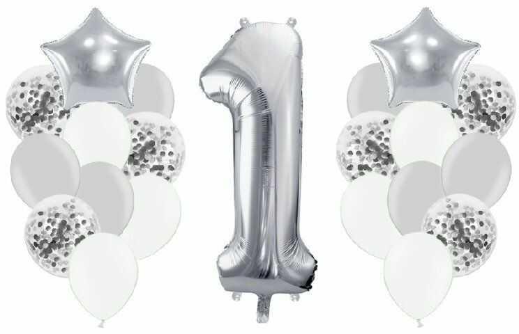 Zestaw balonów na Roczek srebrne 21 sztuk A19