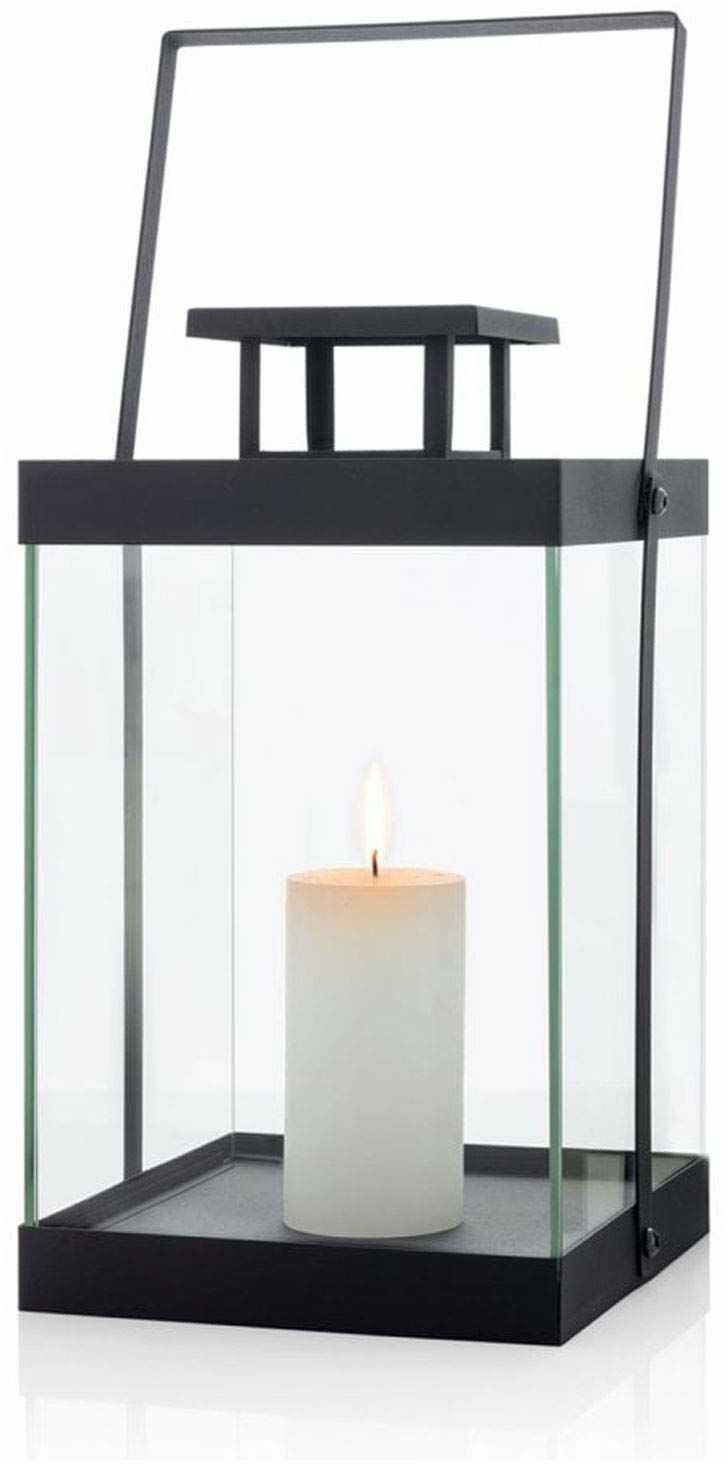 blomus latarnia, bez świecy, M, metalowa, czarna, 21,5 x 21,5 x 36,5 cm