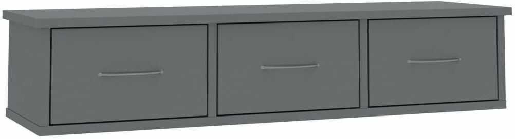 Półka ścienna z szufladami Toss 3X - szary połysk