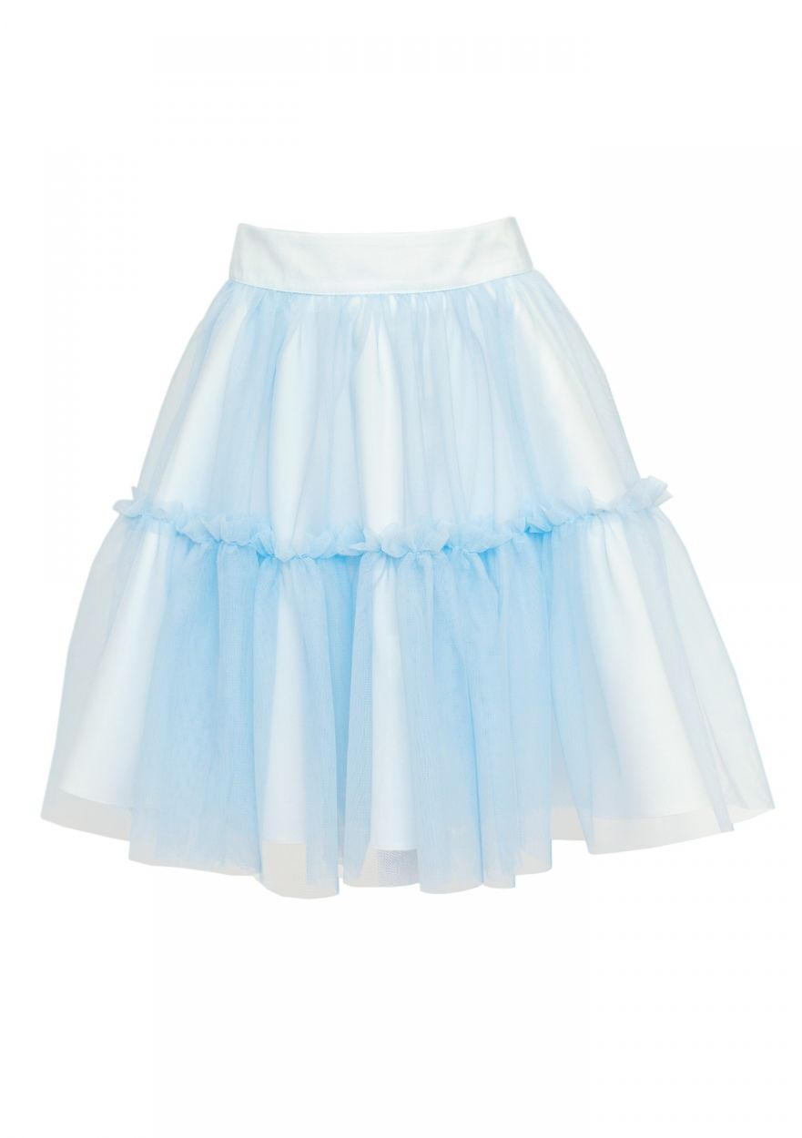 Tiulowa spódnica do kolan 128-158 39D/SM/19 błękitna