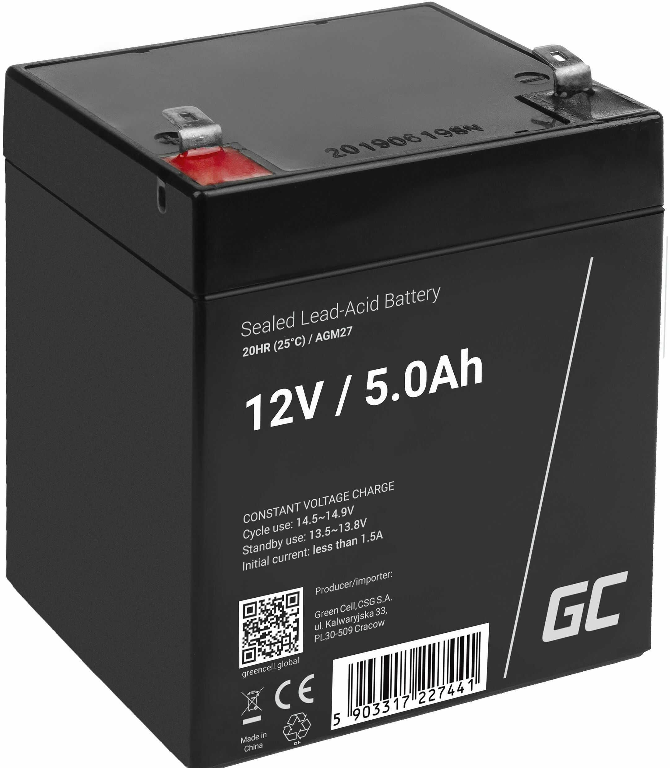 Green Cell AGM VRLA 12V 5Ah bezobsługowy akumulator do systemu alarmowego kasy fiskalnej zabawki