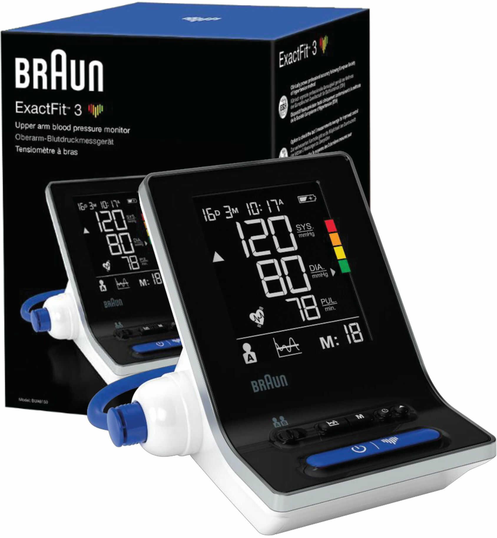 Braun ExactFit 3 BUA6150 4 szt Ciśnieniomierz naramienny 22-32 i 32-42 cm z ESH i IHB