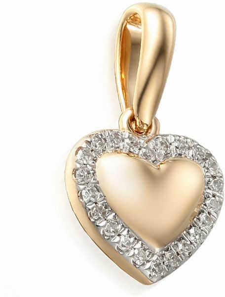 Złota przywieszka z brylantami 585 serce diamenty