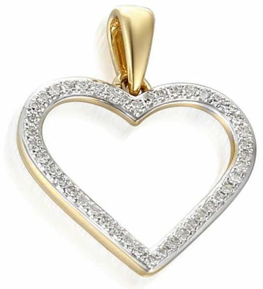 Złota przywieszka 585 serce z diamentami brylanty