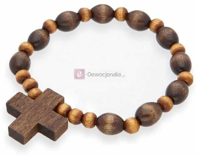 Różaniec drewniany na rękę / bransoletka - brąz