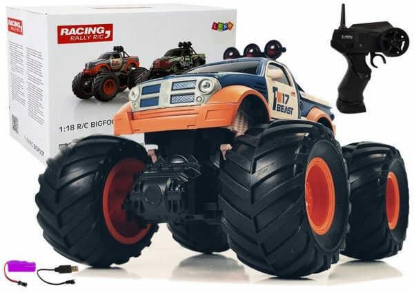 Auto Terenowe Pick Up Ogromne Koła Bigfoot Zdalnie Sterowany 2.4G 1:18 Pomarańczowo- Niebieski