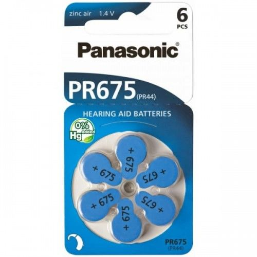 6 x baterie do aparatów słuchowych Panasonic 675 / PR675 / PR44