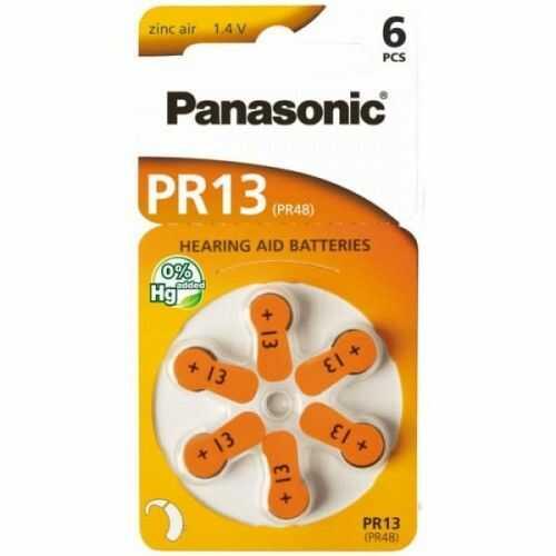 6 x baterie do aparatów słuchowych Panasonic 13 / PR13 / PR48