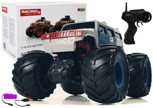 Auto Terenowe Ogromne Koła Bigfoot Zdalnie Sterowany 2.4G 1:18 Szary