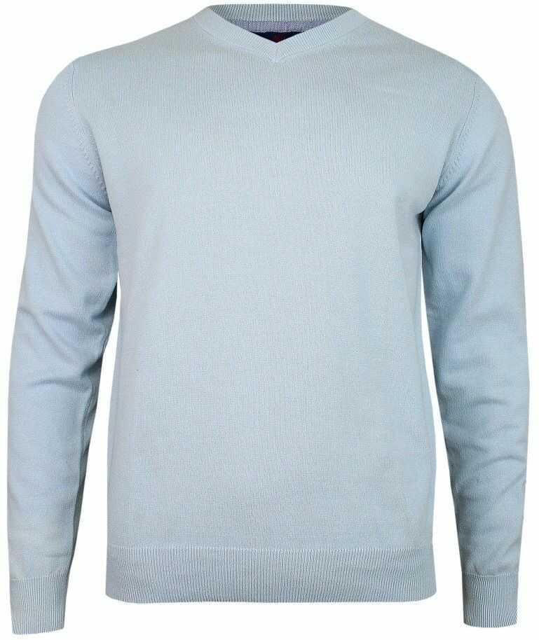 Sweter w Serek, Niebieski, Błękitny (V-neck) -Adriano Guinari- Klasyczny, Męski SWADGAW19babyblue