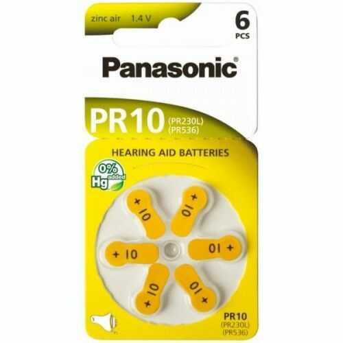 6 x baterie do aparatów słuchowych Panasonic 10 / PR10 / PR230L / PR536 / PR70