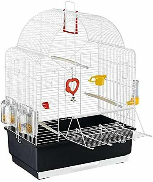 Ferplast Ibiza otwarta klatka dla ptaków z perłowymi białymi prętami, czarna podstawa z akcesoriami, średnia