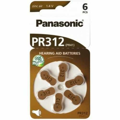 6 x baterie do aparatów słuchowych Panasonic 312 / PR312 / PR41
