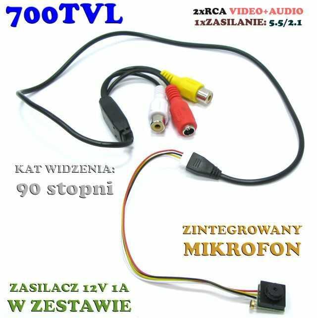 Mikro-Kamera Przewodowa Szerokokątna (90 ), Kolorowa z Fonią.