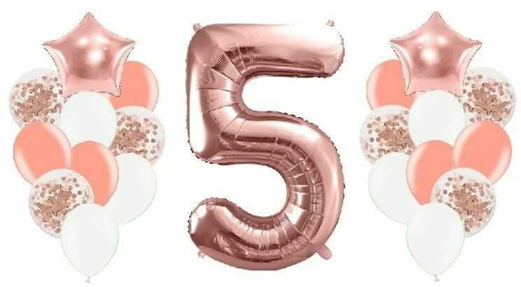 Zestaw balonów na 5 urodziny różowe złoto 21 sztuk A25