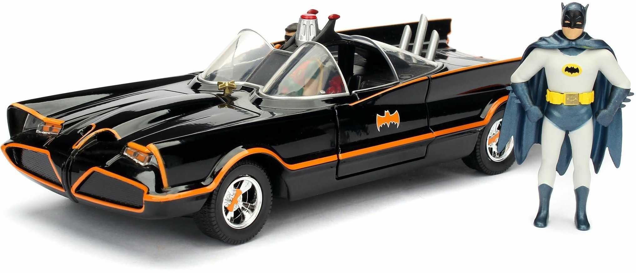 Jada Zabawki 253215001 Batmóvil coche metal 1966 klasyczna seria TV con figura 1:24 Batman-1966 Batmobile, czarny