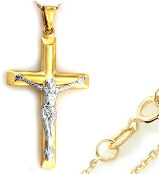 Złoty komplet 333 krzyż z Jezusem łańcuszek
