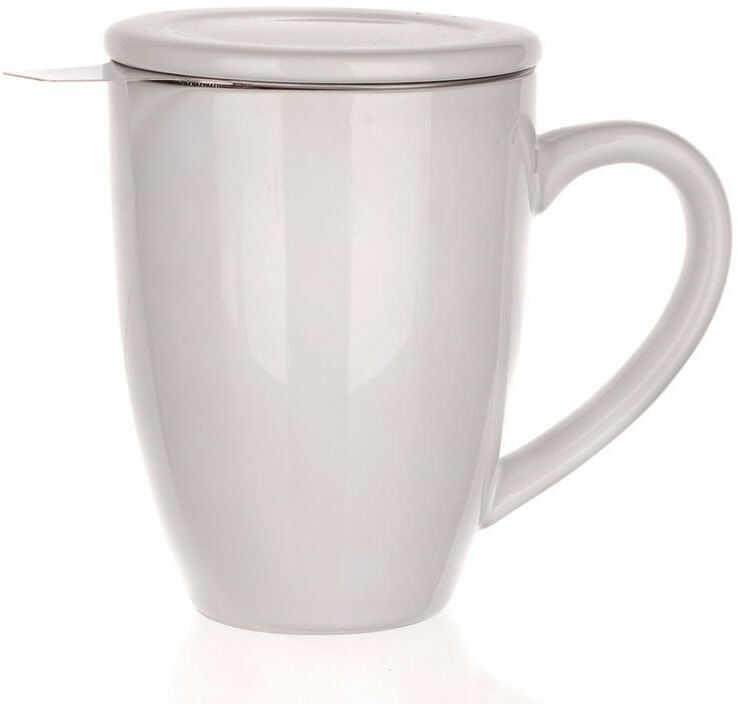 Kubek ceramiczny z wieczkiem i sitko ze stali nierdzewnej Bonnet, BANQUET biały