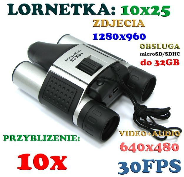Lornetka 10x25 + Zapis Video/Audio + Aparat Foto + Akcesoria.
