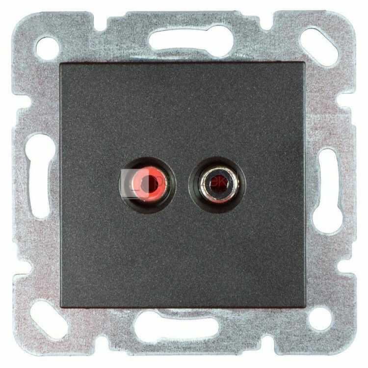 Gniazdo głośnikowe 2 x chinch - Novella Antracyt
