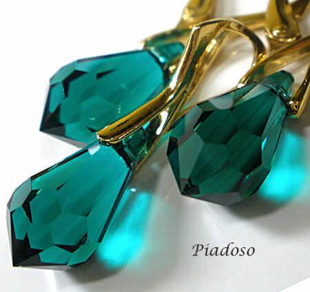 Swarovski Komplet Emerald Złote Srebro Certyfikat