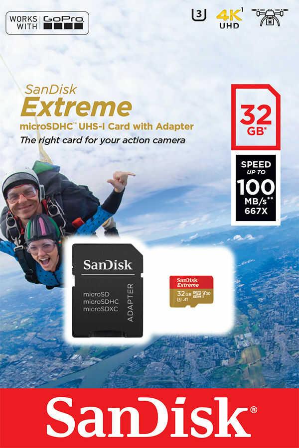 SanDisk SDSQXAF-032G-GN6AA - Karta EXTREME microSDHC 32 GB 100/60 MB/s A1 C10 V30 UHS-I U3 - GoPro SanDisk SDSQXAF-032G-GN6AA