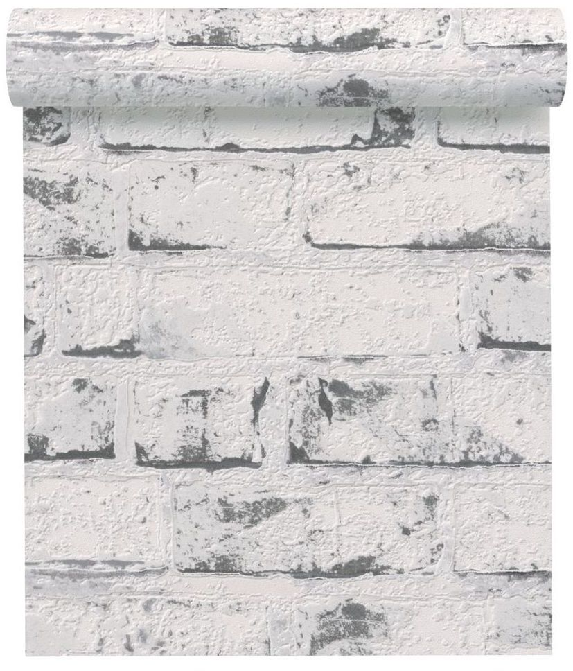 Tapeta 3D CEGŁA szara imitacja cegły winylowa na flizelinie