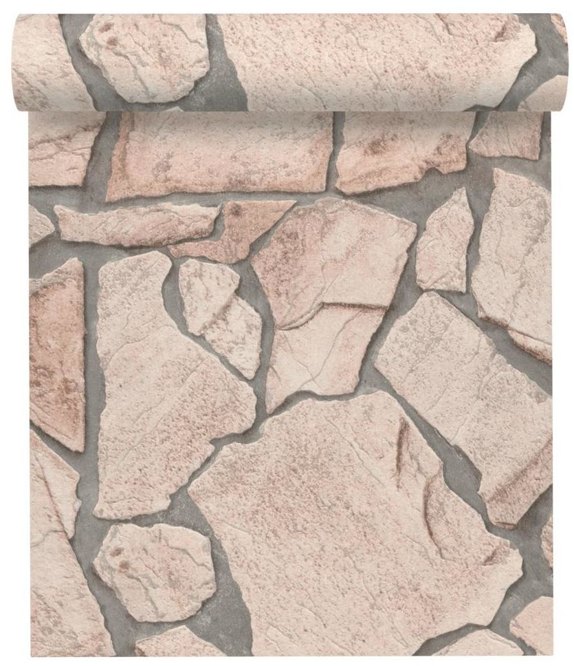 Tapeta 3D KAMIENIE beżowa imitacja kamienia winylowa na flizelinie