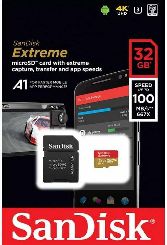 SanDisk SDSQXAF-032G-GN6MA - Karta EXTREME microSDXC 32 GB 100/90 MB/s A1 C10 V30 UHS-I U3 Mobile SanDisk SDSQXAF-032G-GN6MA - Karta EXTREME microSDXC 32 GB 100/90 MB/s A1 C10 V30 UHS-I U3 Mobile