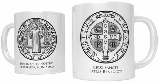 Kubek religijny z medalem św. Benedykta