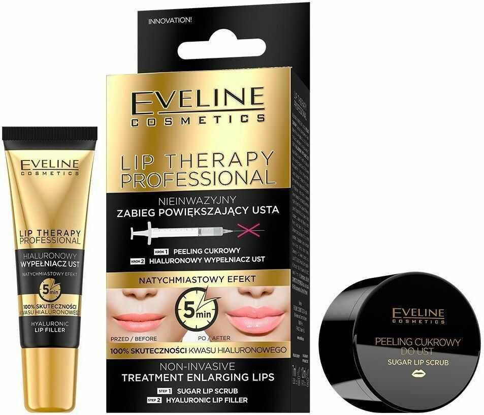 EVELINE KOLOROWKA Eveline Lip Therapy Nieinwazyjny zabieg powiększający usta DUO 1op.-(peeling 7ml+wypełniacz 12ml)