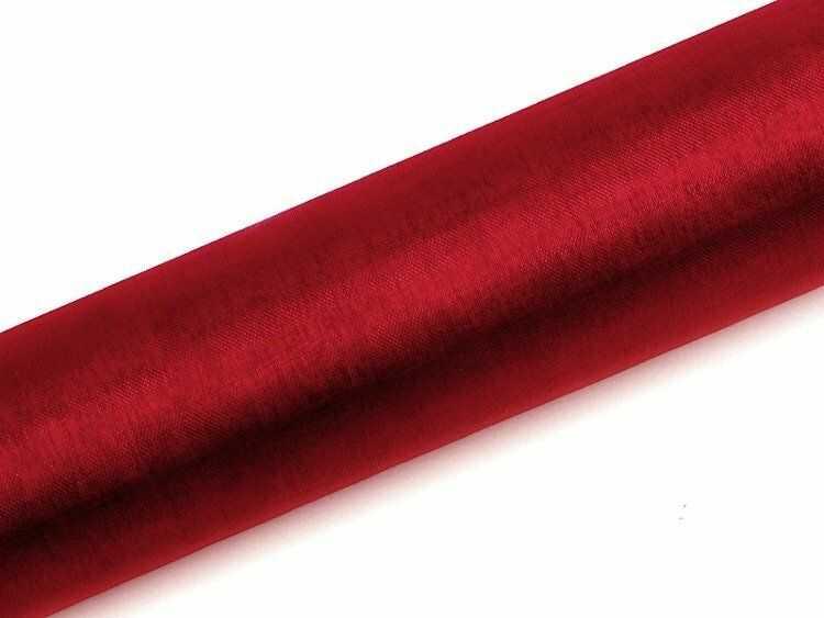 Organza czerwona 16cm x 9m 1 rolka ORP16-007