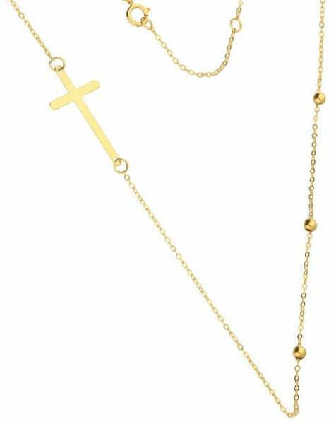 Złoty naszyjnik 333 łańcuszek z kuleczkami krzyż 1,40 g
