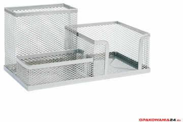 Przybornik na biurko DOTTS siatka srebrny 205x103x98mm