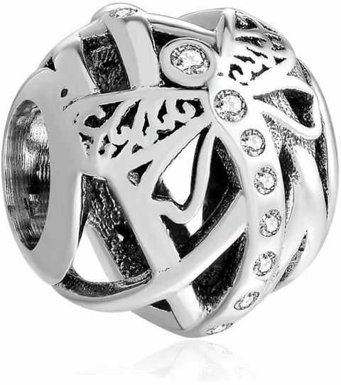 Rodowany srebrny charms do pandora ważka dragonfly cyrkonie srebro 925 QS0804