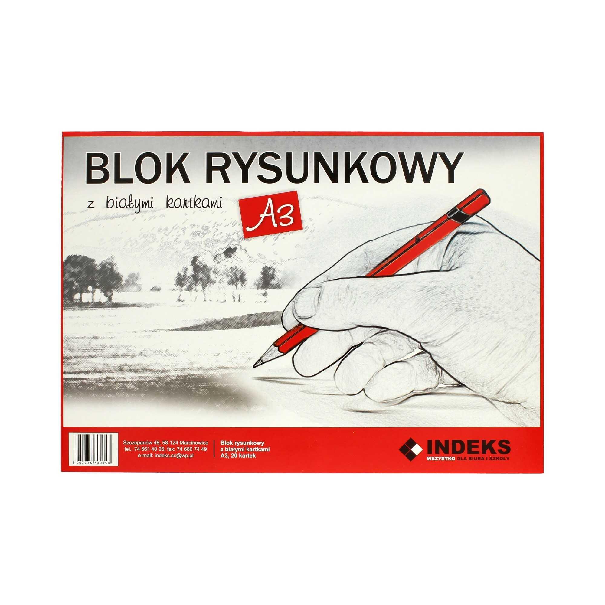 Blok rysunkowy A3/20 biały Indeks