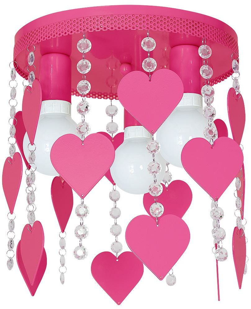 Milagro CORAZON MLP1150 plafon lampa sufitowa metal różowy kryształki serca 3xE27 35cm