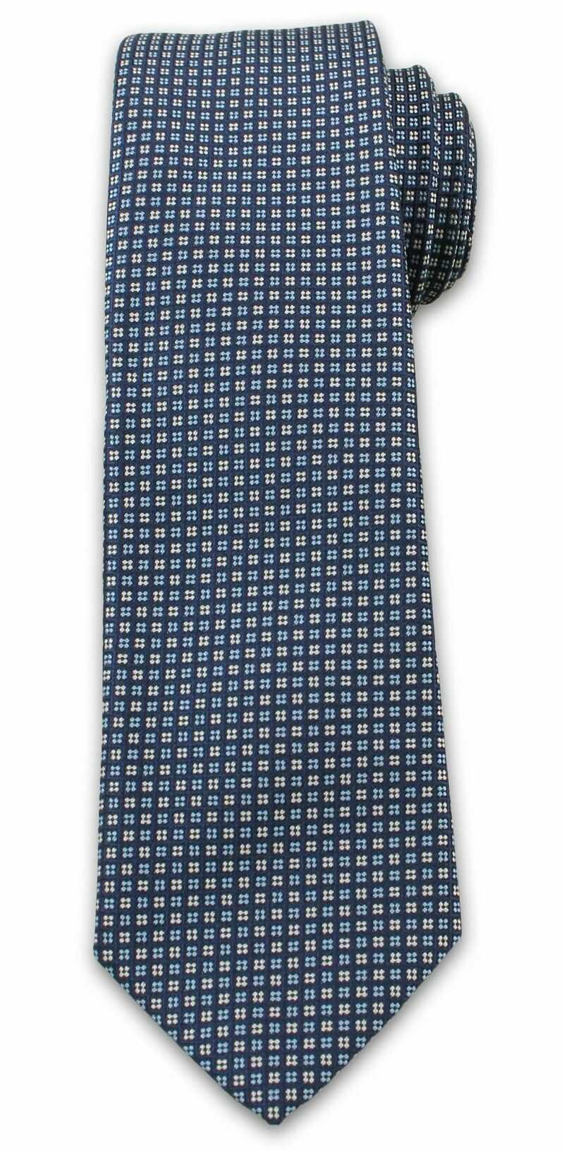 Wyrazisty Krawat Męski w Drobny Wzór, Kwadraciki, Chattier, Granatowo-Niebieski KRCH1012