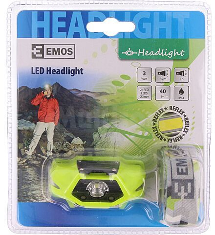 Latarka czołowa EMOS P3530 LED 5h 40lm 40x68x30mm 3W