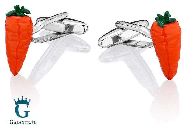 Spinki do mankietów x2 pomarańczowa marchewka