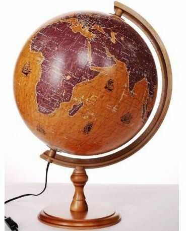 Globus 320 żaglowce podświetlany drewniana stopka