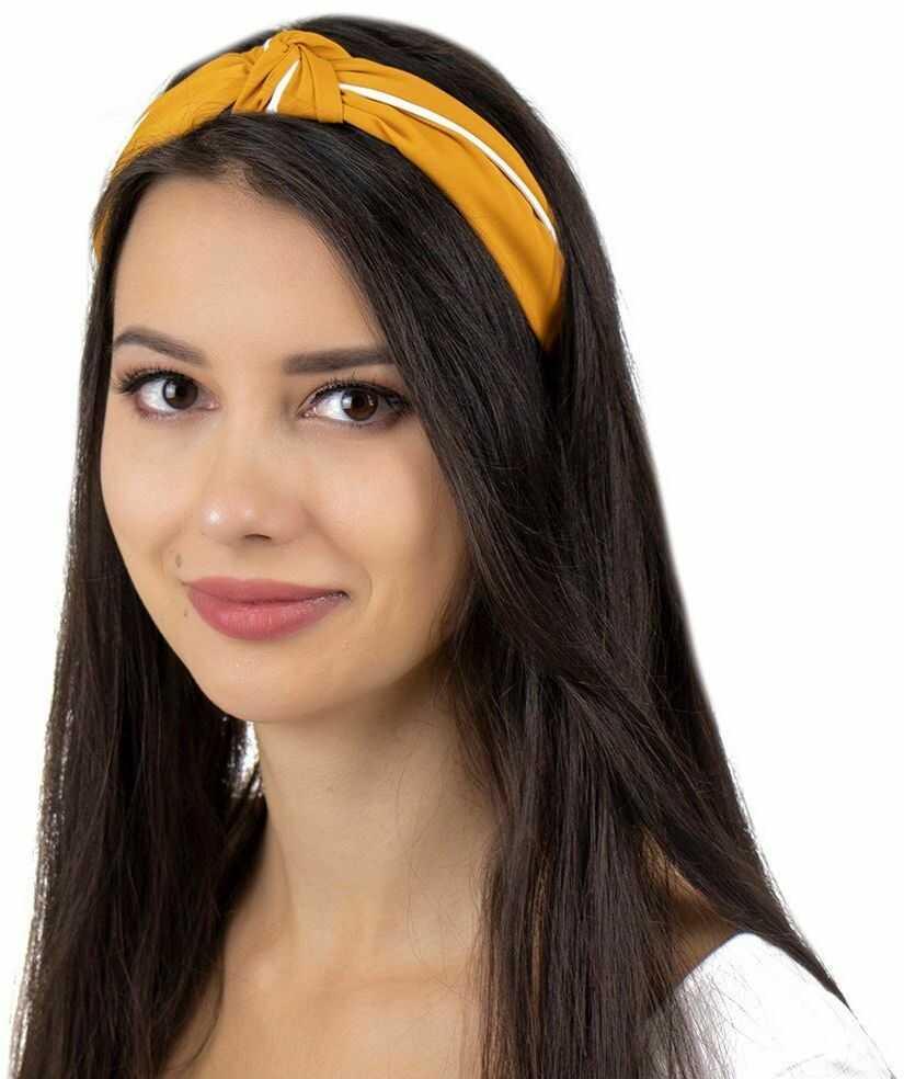 Opaska do włosów turban pin up węzeł musztardowa
